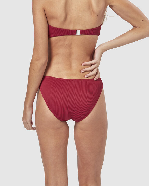 Ribbed Bandeau Top Ruby 2