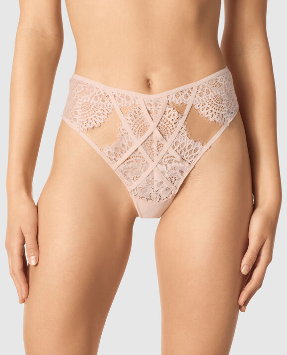 High Waist Thong Panty Barely Blush 1