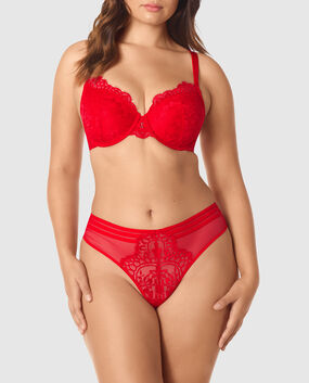 Lightly Lined Full Coverage Bra Chili Red 1