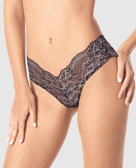 V Front Brazilian Panty Black with Lavender Stone 1
