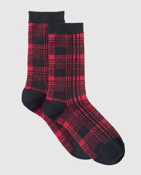 Crew Sock Red & Black Plaid 1