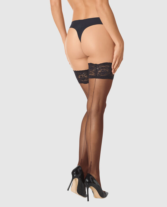 Stay Up Thigh-High with Back Seam Smoulder Black 1
