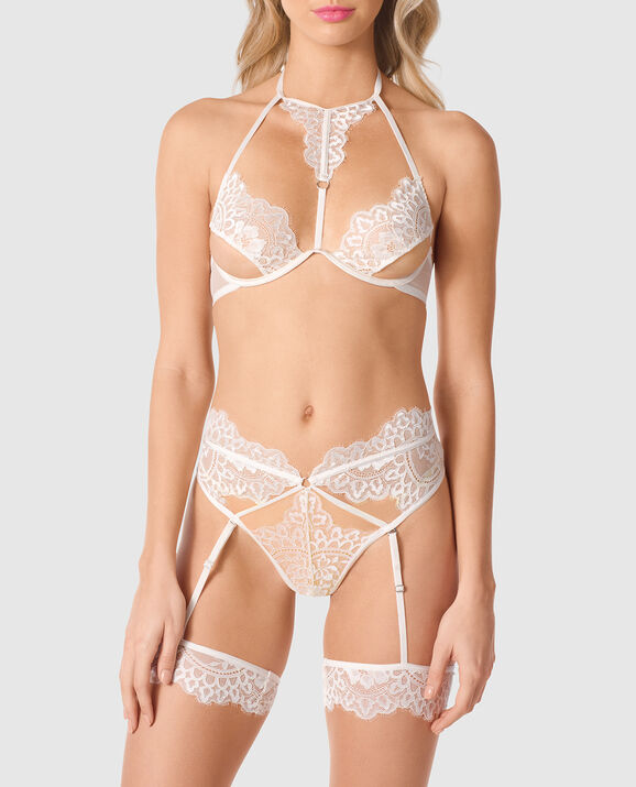 Unlined Lace Bra with Cut-Outs Linen 1