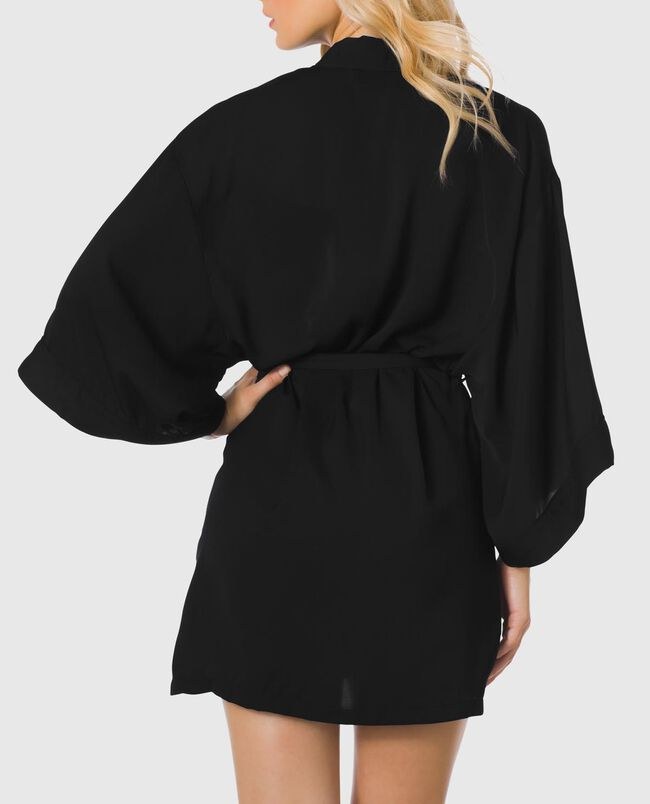 Matte Satin Kimono with Piping