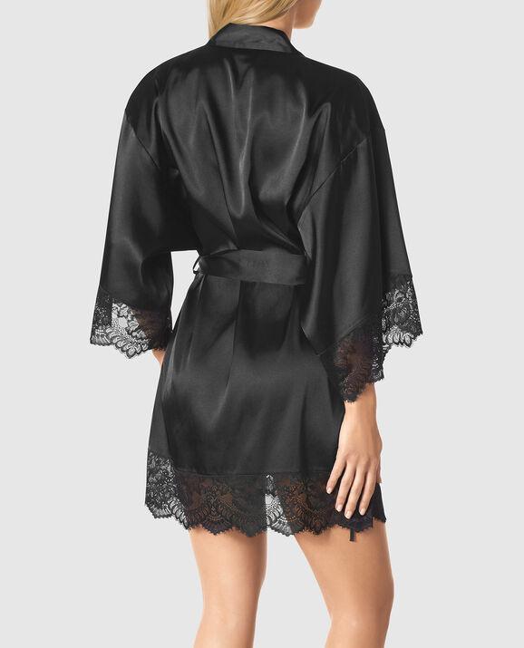 Satin Kimono with Lace Smoulder Black 2