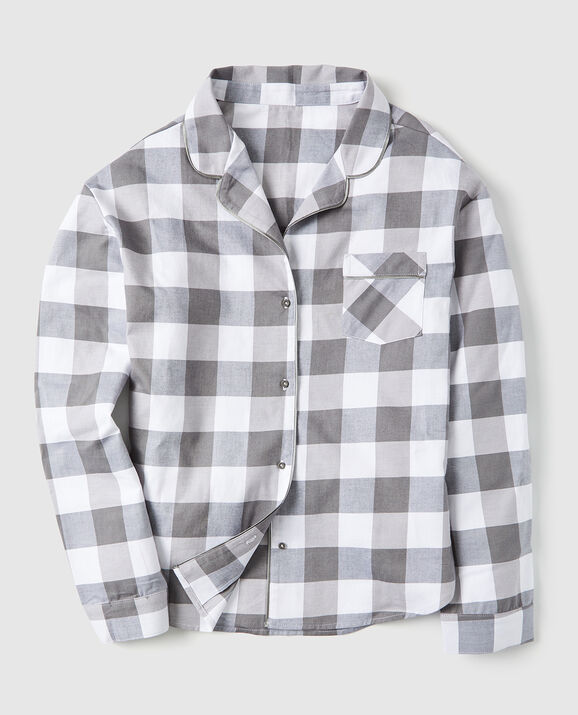Flannel Button Down Pajama Shirt Grey Check 1