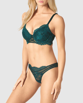 Lightly Lined Full Coverage Bra Nightfall Teal 1