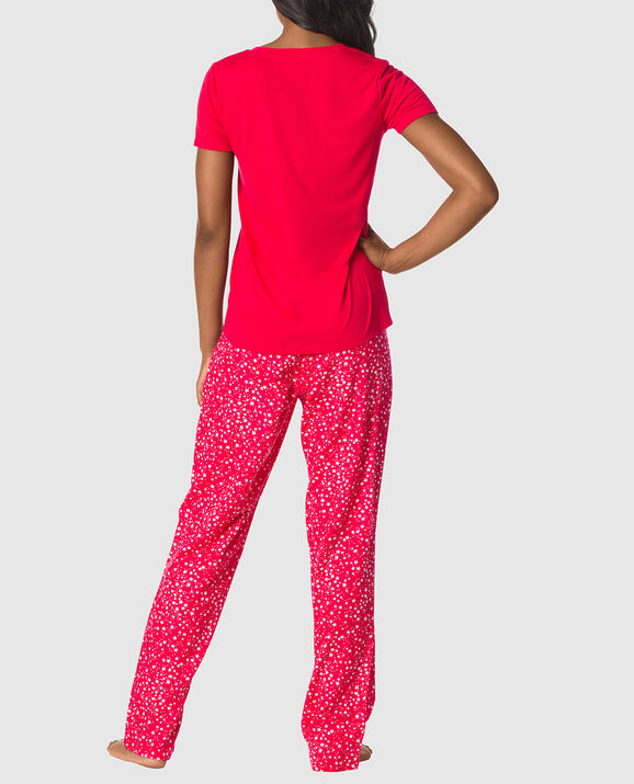 The Cozy Pajama Set Red with White Stars 2