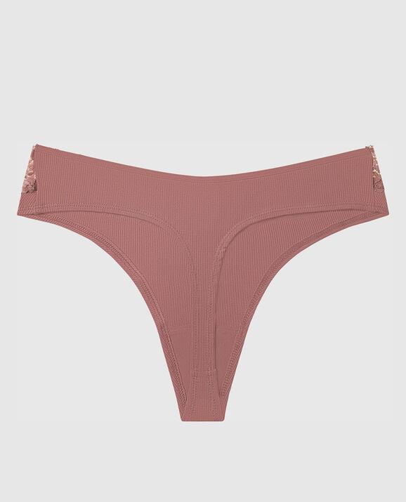 Ribbed High Leg Thong Panty Vintage Rose 2