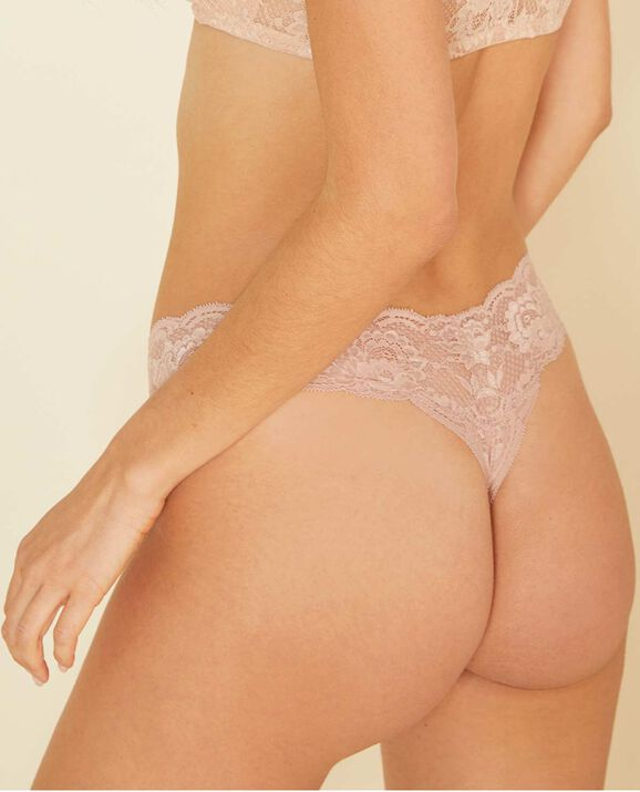 Cutie Low Rise Thong Panty Rose Tan 2