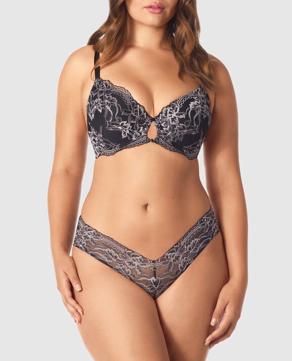 Lightly Lined Full Coverage Bra Black with Lavender Stone 1