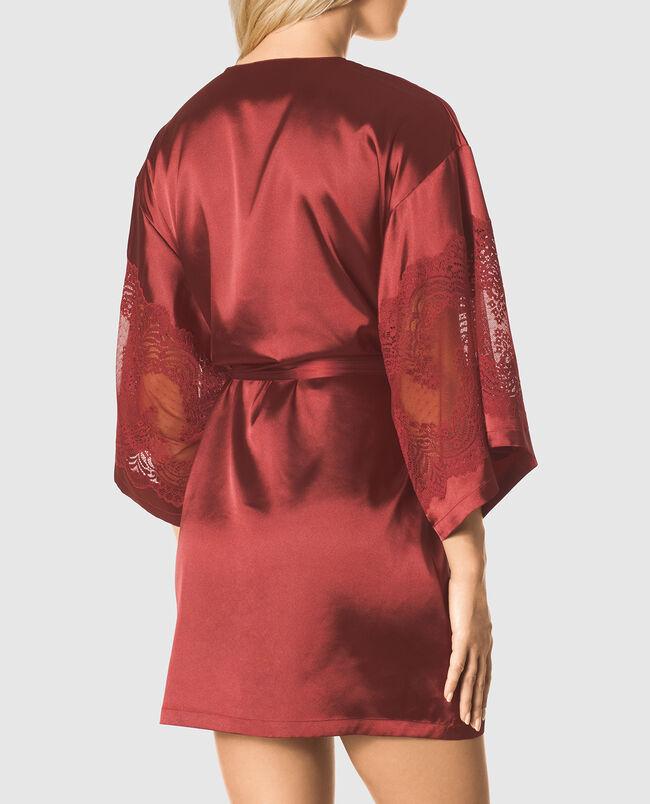 Satin Kimono with Lace Sleeve