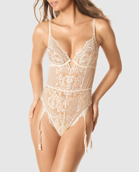 Unlined Lace Bodysuit with Garter Straps