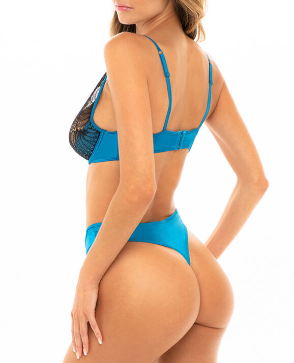 Unlined Bra and Thong Panty Set Mykonos Blue 2