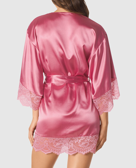 Satin Kimono with Lace Sleeve undefined 2