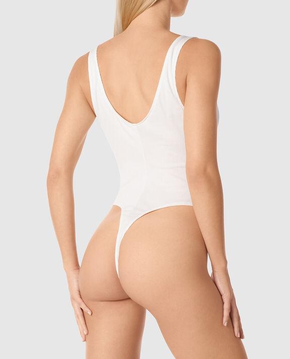 Ribbed Henley Bodysuit Ivory 2