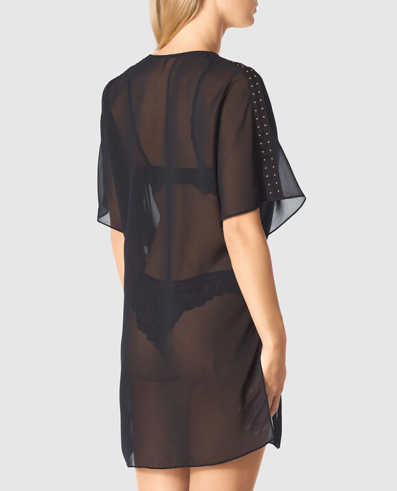 Draped Chiffon Kimono Smoulder Black 2