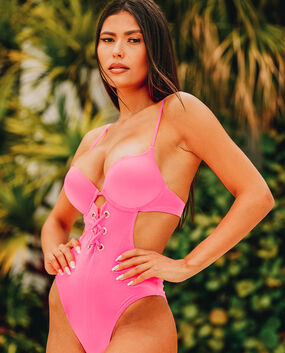 Push Up One Piece Neon Pink 1