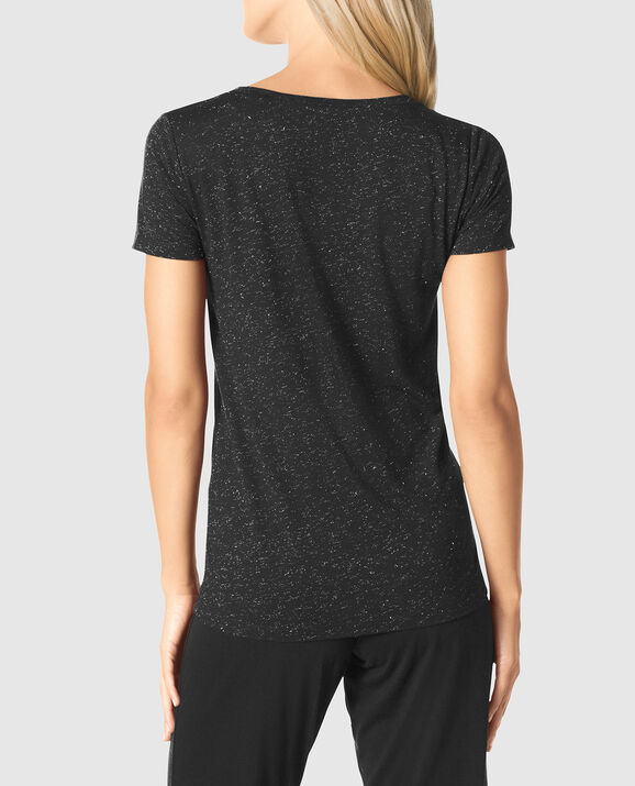 Shine V-Neck Tee Smoulder Black 2