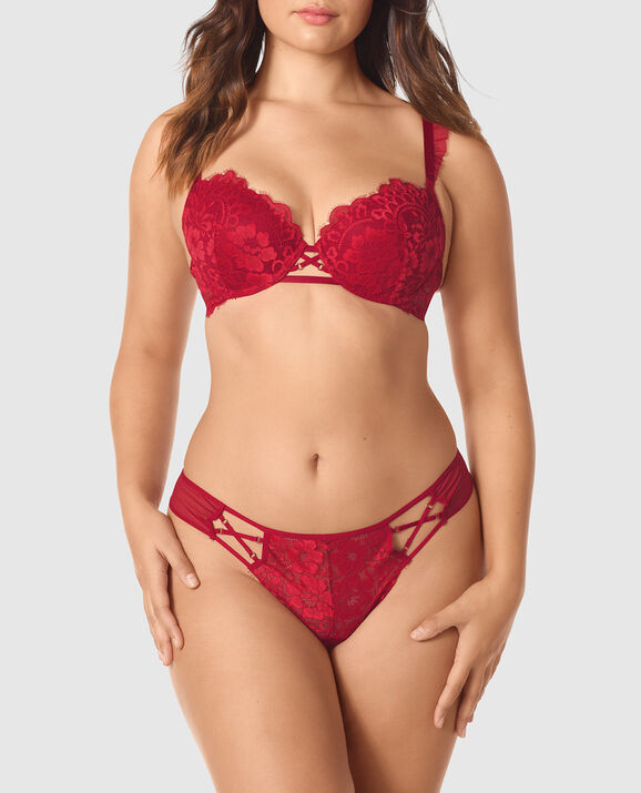 Lightly Lined Demi Bra Red Lacquer 1