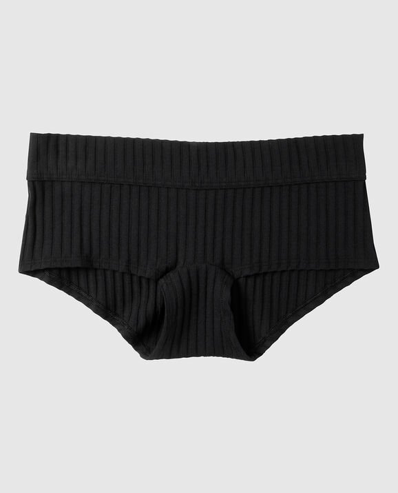 Ribbed Boyshort Panty Smoulder Black 1