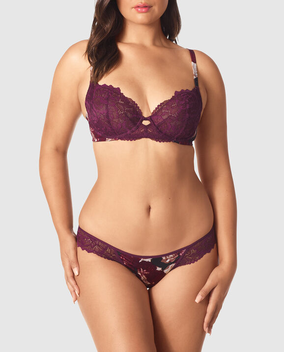 Unlined Demi Bra Wine Rose Print 1