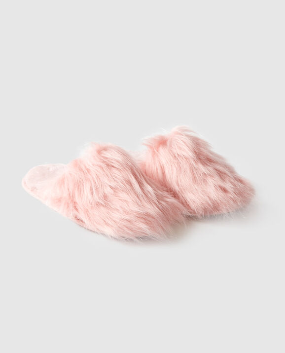 Faux Fur Mule Slipper Pink Fizz 1