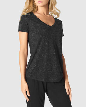 Shine V-Neck Tee Smoulder Black 1