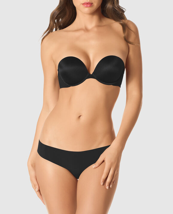 Strapless Up 2 Cup Push Up Bra Smoulder Black 1