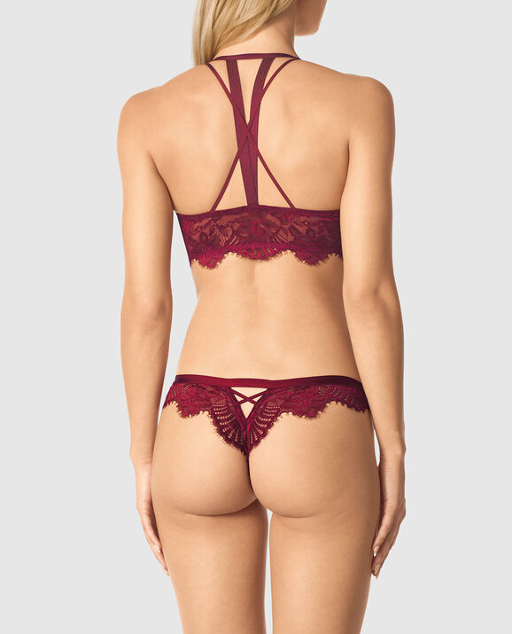 Front-Close Lightly Lined Demi Bra Sangria Red 2