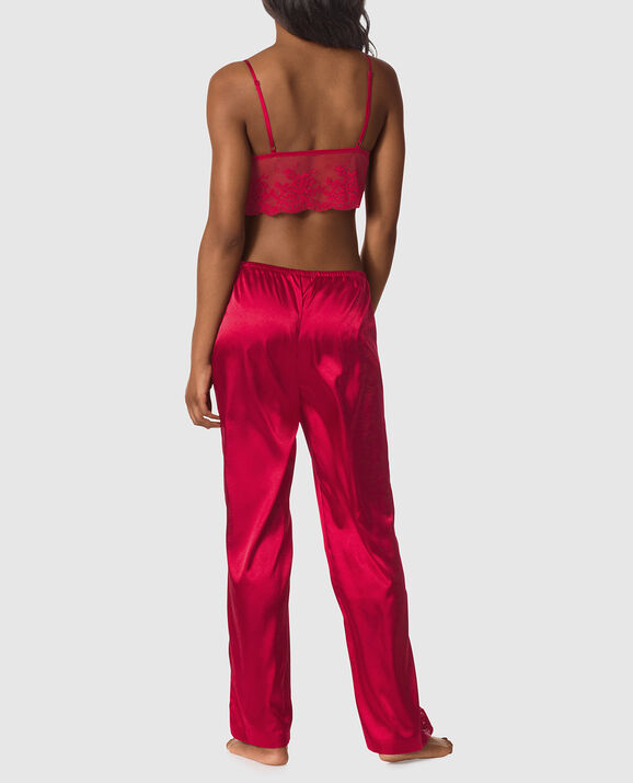 Satin and Lace Cami and Pant Set Red Lacquer 2