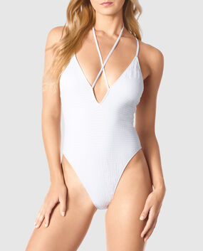 Deep V One Piece White 1