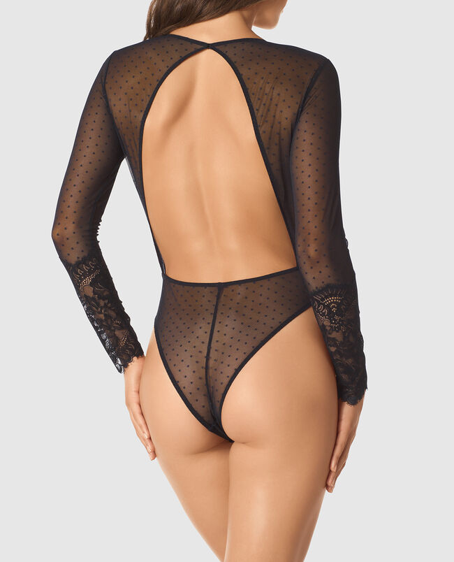 Long-Sleeve Lace Bodysuit