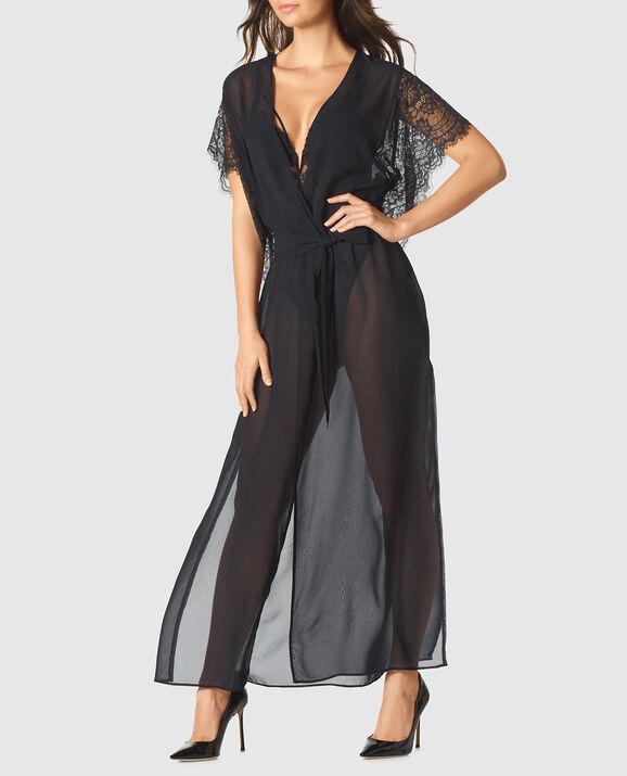 Long Chiffon Robe Smoulder Black 1