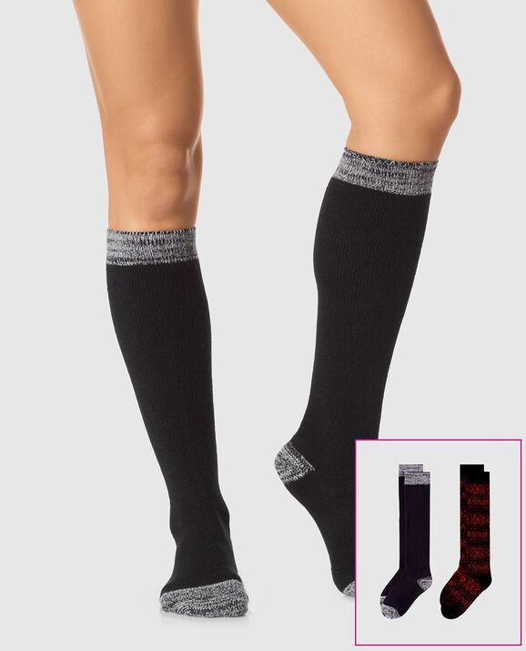 Knee High Sock 2 Pack Jester Red with Smoulder Black 1