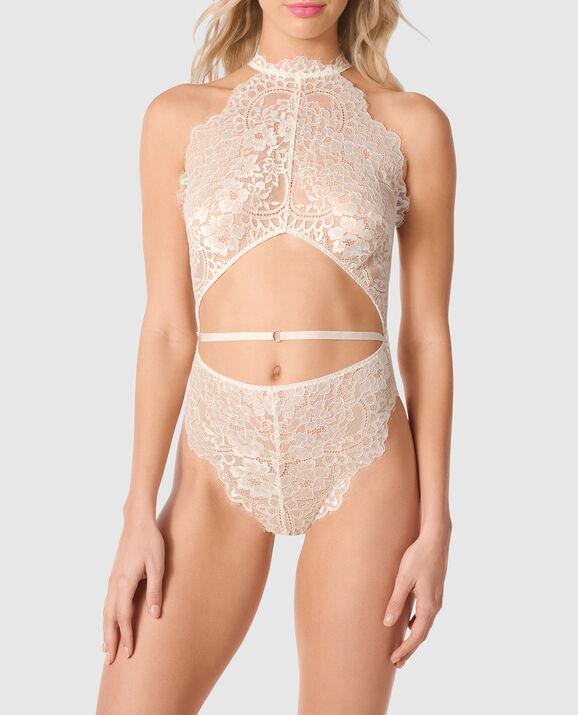 Unlined Lace Bodysuit Linen 1