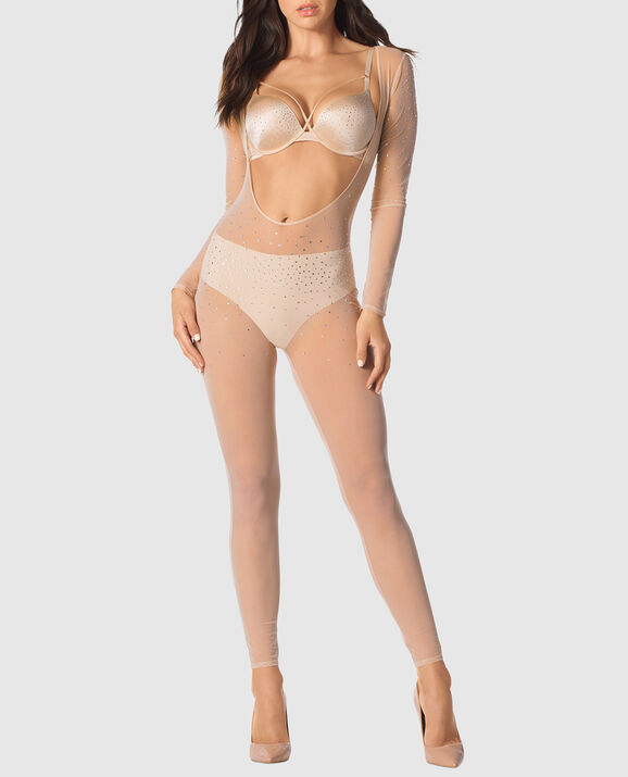 Mesh and Rhinestone Cat Suit New Nude 3