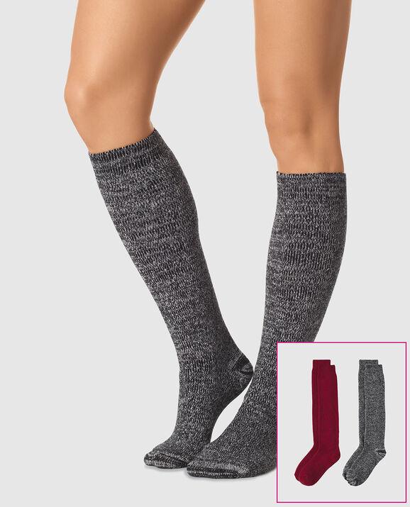 Knee High Sock 2 Pack Black Heather 1