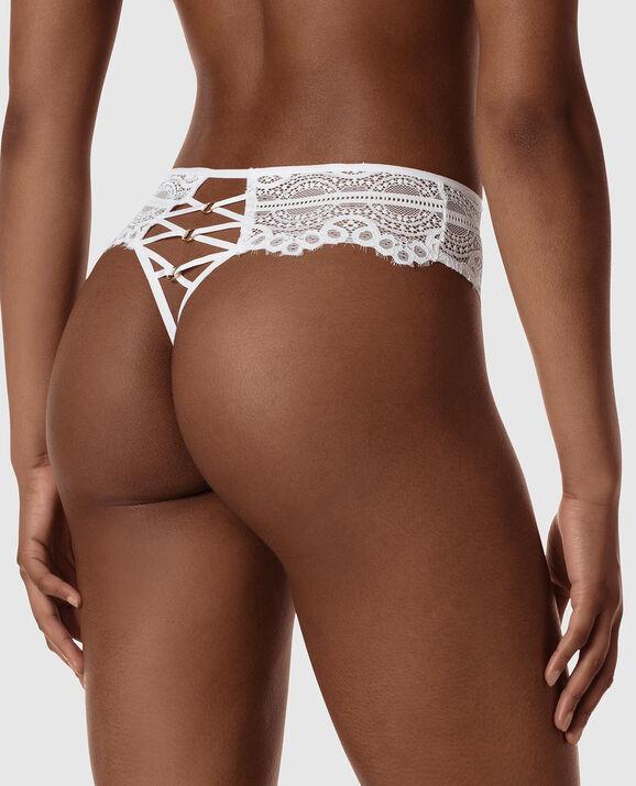 High Waist Thong Panty White 2