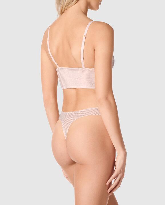 Unlined Shimmer Bralette Pink Fizz 2