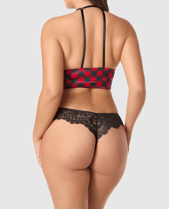 Light Push Up Bra Top Red & Black Plaid 2