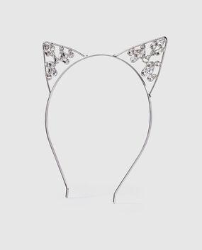 Rhinestone Kitty Ears Silver 1