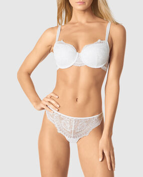 Lightly Lined Balconette Bra White 1