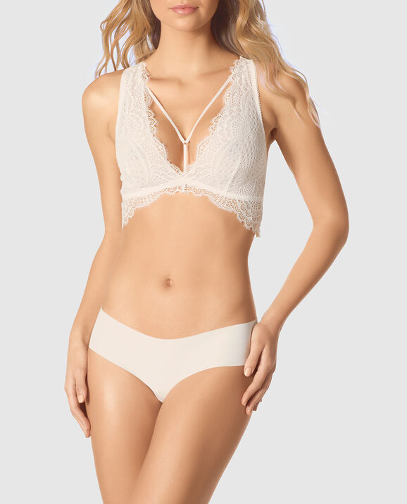 Deep V Lace Bralette Coconut White 1