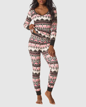 The Skinny Pajama Set Black White Fairisle 1