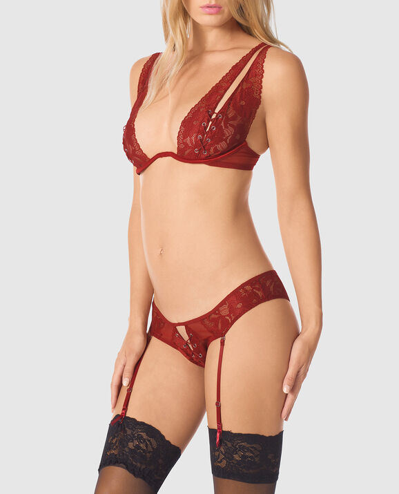 Unlined Lace Bra Scorched Chili 1