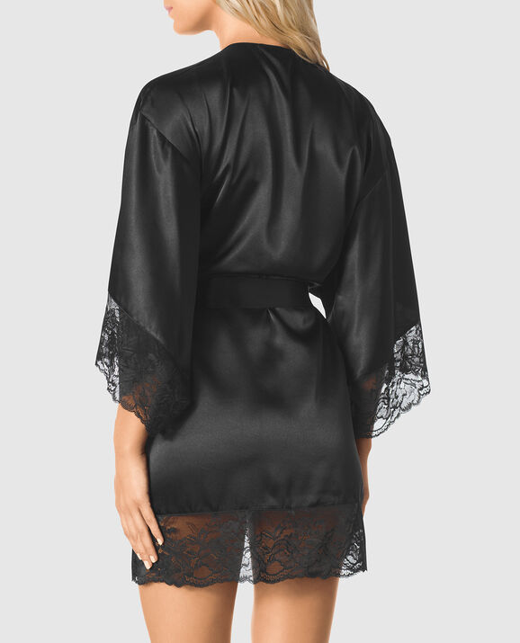 Satin Kimono with Lace Sleeve Smoulder Black 2
