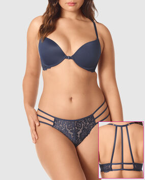 Front-Close Light Push Up Bra Blue Velvet 1