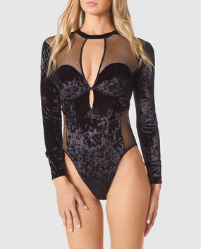 Velvet Bodysuit Smoulder Black 1