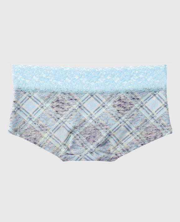 Boyshort Panty Light Blue Grey Plaid 2